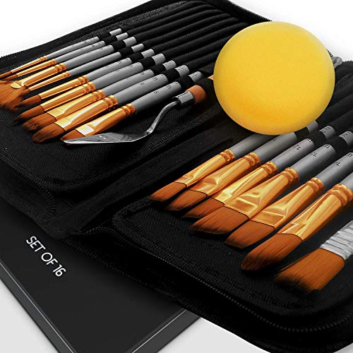 Benicci Paint Brush Set of 16 – 15 Different Shapes + 1...
