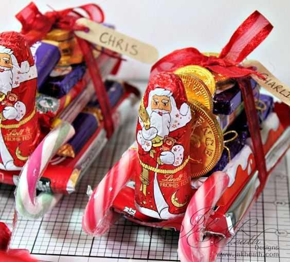 Санки из конфет своими руками пошаговое фото